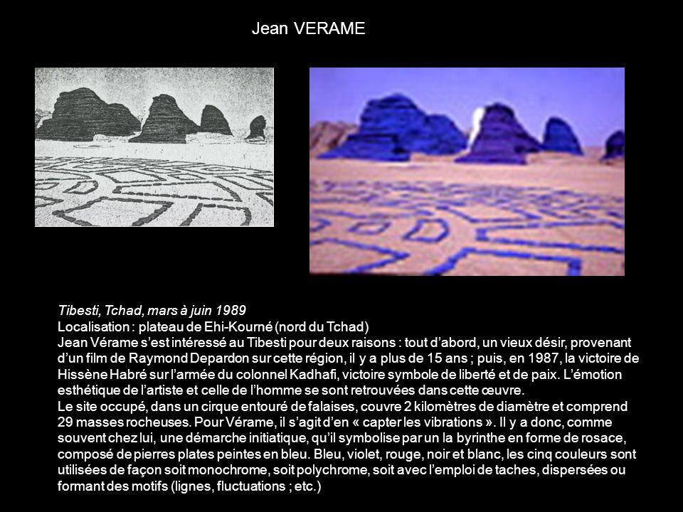 Tibesti, Tchad, mars à juin 1989 Localisation : plateau de Ehi-Kourné (nord du Tchad) Jean Vérame sest intéressé au Tibesti pour deux raisons : tout d