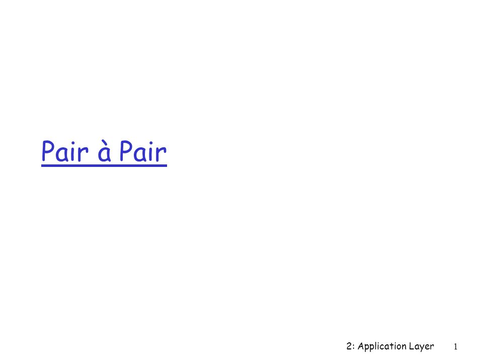 2: Application Layer1 Pair à Pair