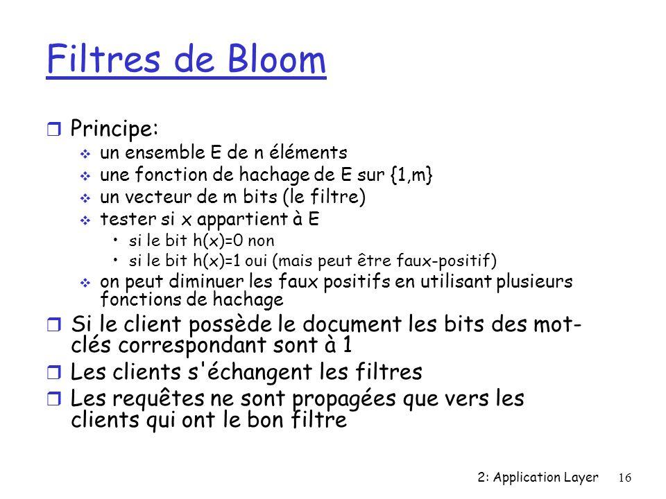2: Application Layer16 Filtres de Bloom r Principe: un ensemble E de n éléments une fonction de hachage de E sur {1,m} un vecteur de m bits (le filtre) tester si x appartient à E si le bit h(x)=0 non si le bit h(x)=1 oui (mais peut être faux-positif) on peut diminuer les faux positifs en utilisant plusieurs fonctions de hachage r Si le client possède le document les bits des mot- clés correspondant sont à 1 r Les clients s échangent les filtres r Les requêtes ne sont propagées que vers les clients qui ont le bon filtre