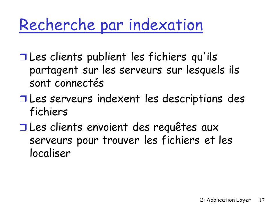 2: Application Layer17 Recherche par indexation r Les clients publient les fichiers qu ils partagent sur les serveurs sur lesquels ils sont connectés r Les serveurs indexent les descriptions des fichiers r Les clients envoient des requêtes aux serveurs pour trouver les fichiers et les localiser