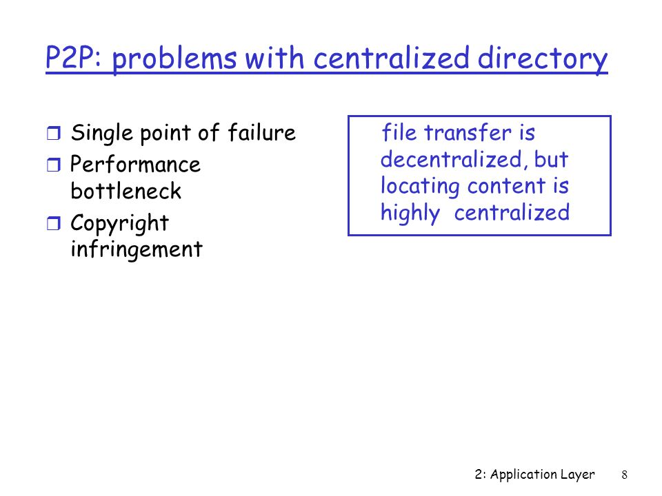 2: Application Layer8 P2P: problems with centralized directory r Single point of failure r Performance bottleneck r Copyright infringement file transfer is decentralized, but locating content is highly centralized