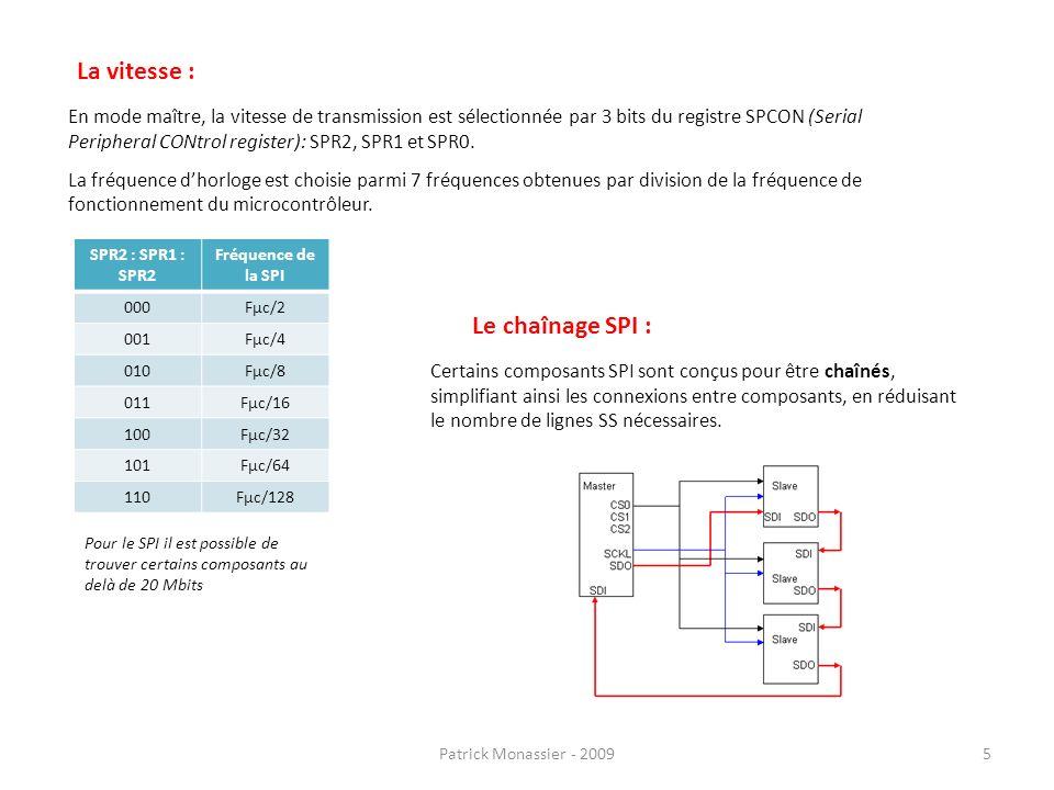 En mode maître, la vitesse de transmission est sélectionnée par 3 bits du registre SPCON (Serial Peripheral CONtrol register): SPR2, SPR1 et SPR0. La