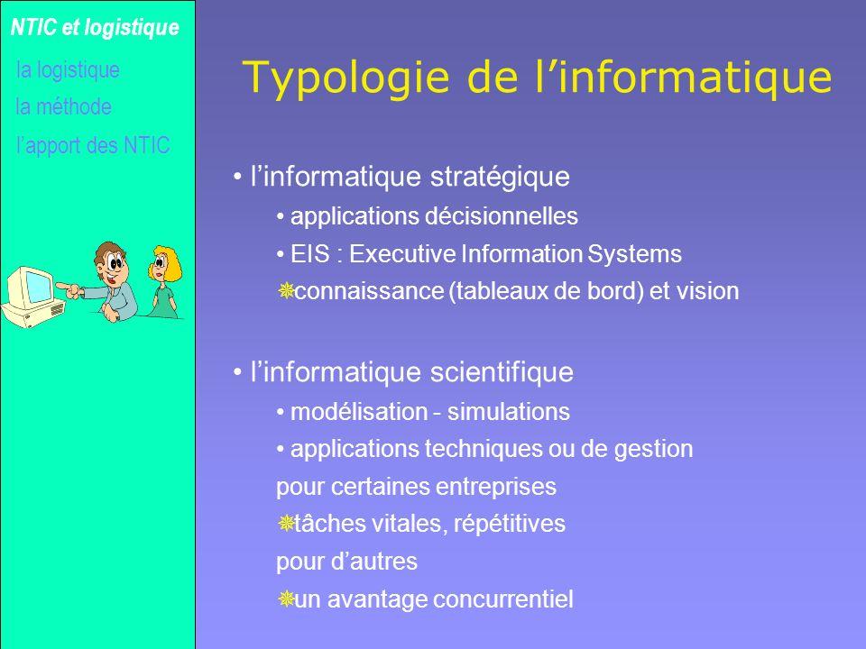 Gilles MICHEL Typologie de linformatique linformatique stratégique applications décisionnelles EIS : Executive Information Systems ¯ connaissance (tab