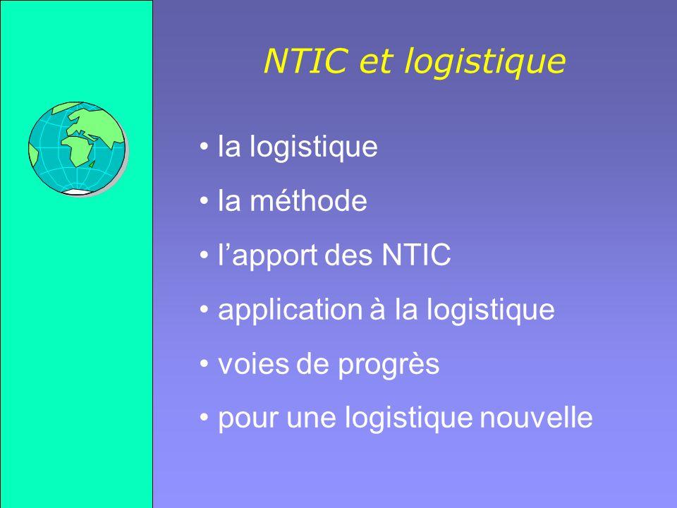 Gilles MICHEL Réseau étendu la méthode NTIC et logistique lapport des NTIC la logistique Réseau local - LAN ROUTEUR 56 Kb/s 1.5 Mb/s Application Protocole sur le modèle ISO