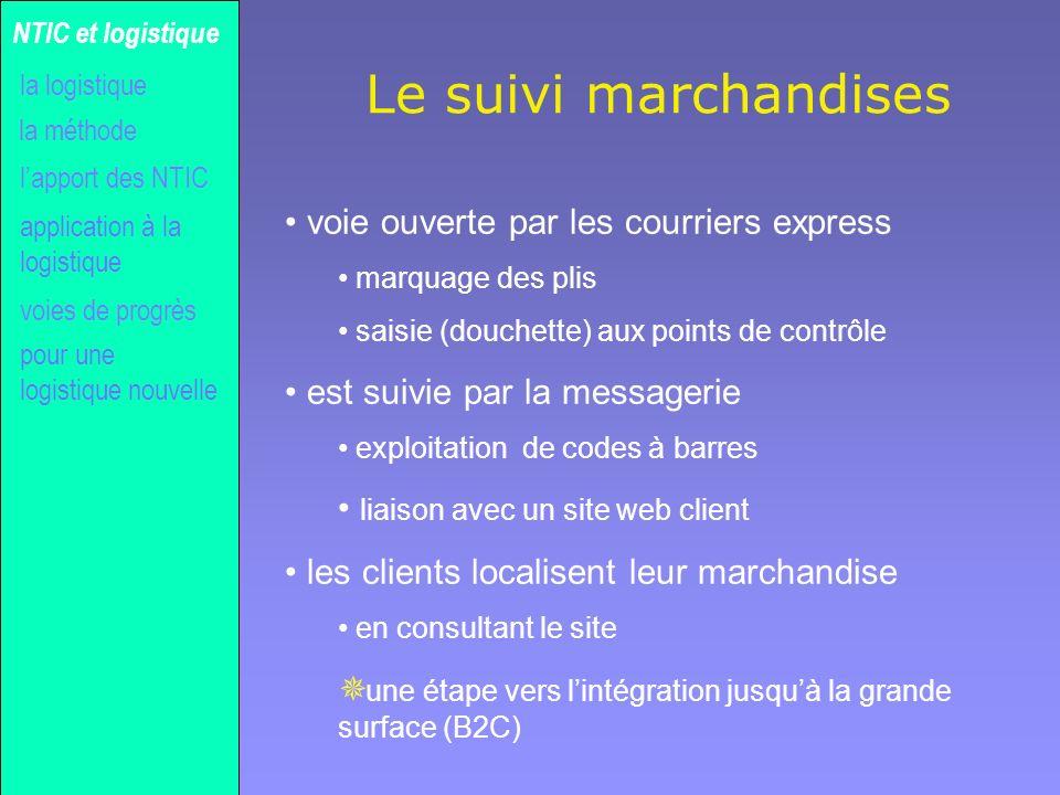 Gilles MICHEL Le suivi marchandises la méthode NTIC et logistique la logistique lapport des NTIC voies de progrès application à la logistique pour une