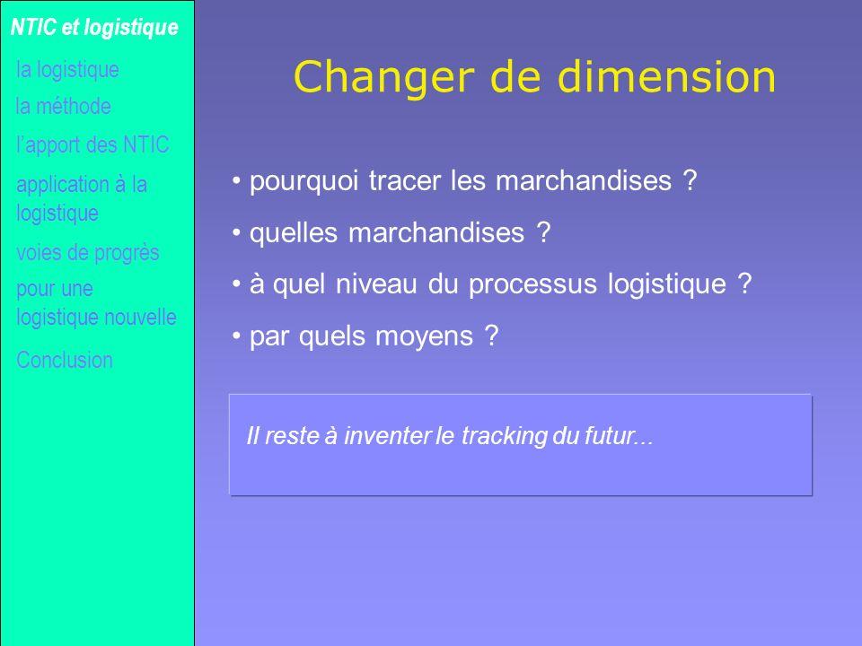 Gilles MICHEL Changer de dimension pourquoi tracer les marchandises ? quelles marchandises ? à quel niveau du processus logistique ? par quels moyens