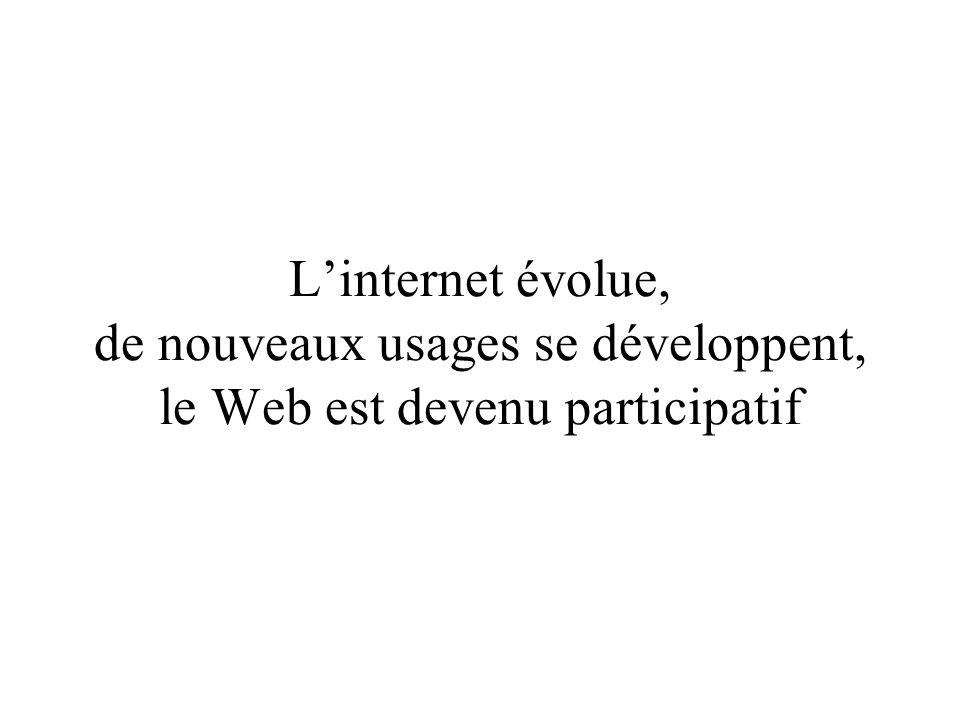 Linternet évolue, de nouveaux usages se développent, le Web est devenu participatif