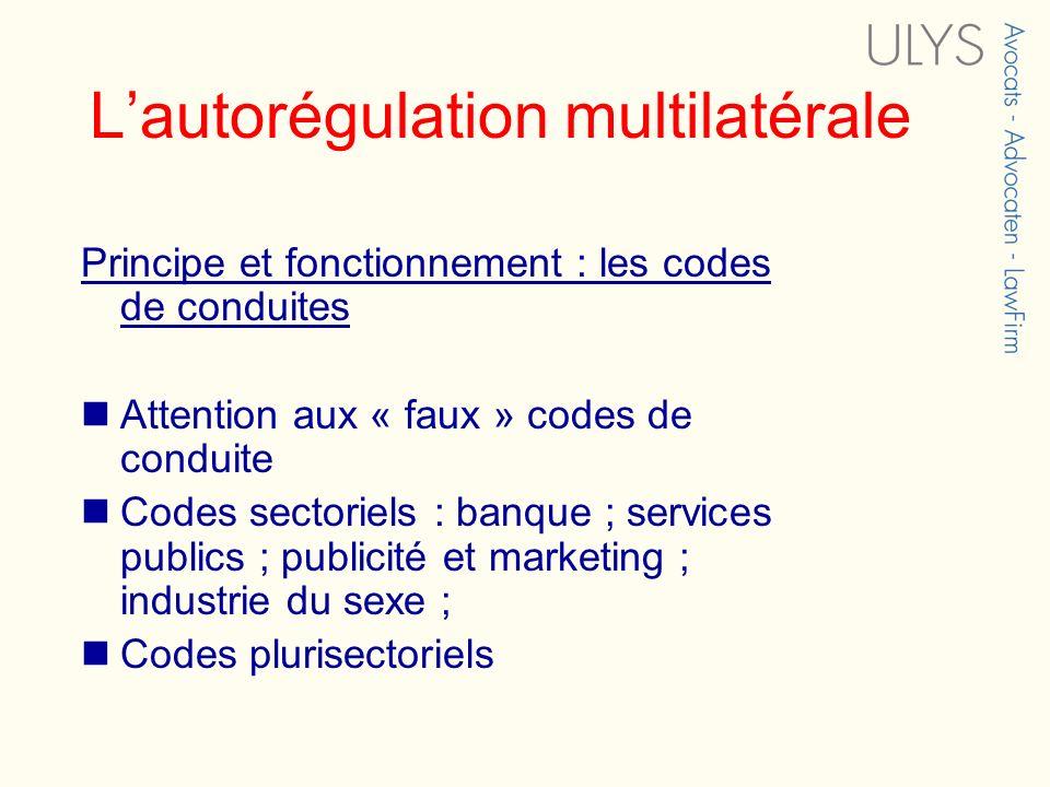 Lautorégulation multilatérale Principe et fonctionnement : les codes de conduites Attention aux « faux » codes de conduite Codes sectoriels : banque ; services publics ; publicité et marketing ; industrie du sexe ; Codes plurisectoriels