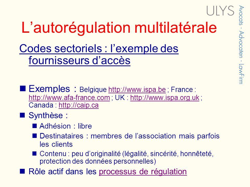 Lautorégulation multilatérale Codes sectoriels : lexemple des fournisseurs daccès Exemples : Belgique http://www.ispa.be ; France : http://www.afa-fra
