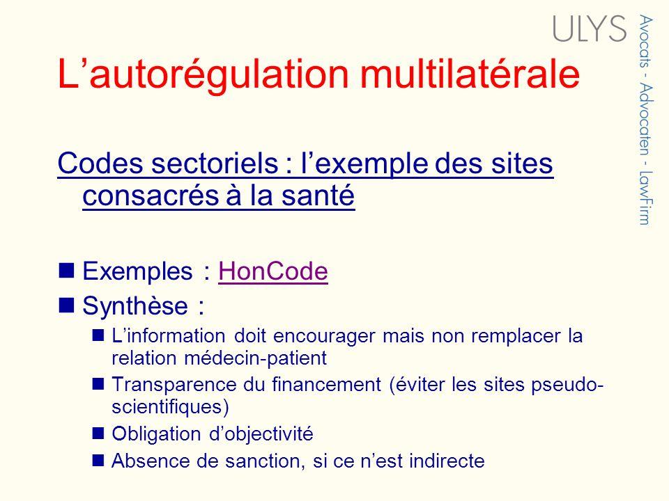 Lautorégulation multilatérale Codes sectoriels : lexemple des sites consacrés à la santé Exemples : HonCodeHonCode Synthèse : Linformation doit encour