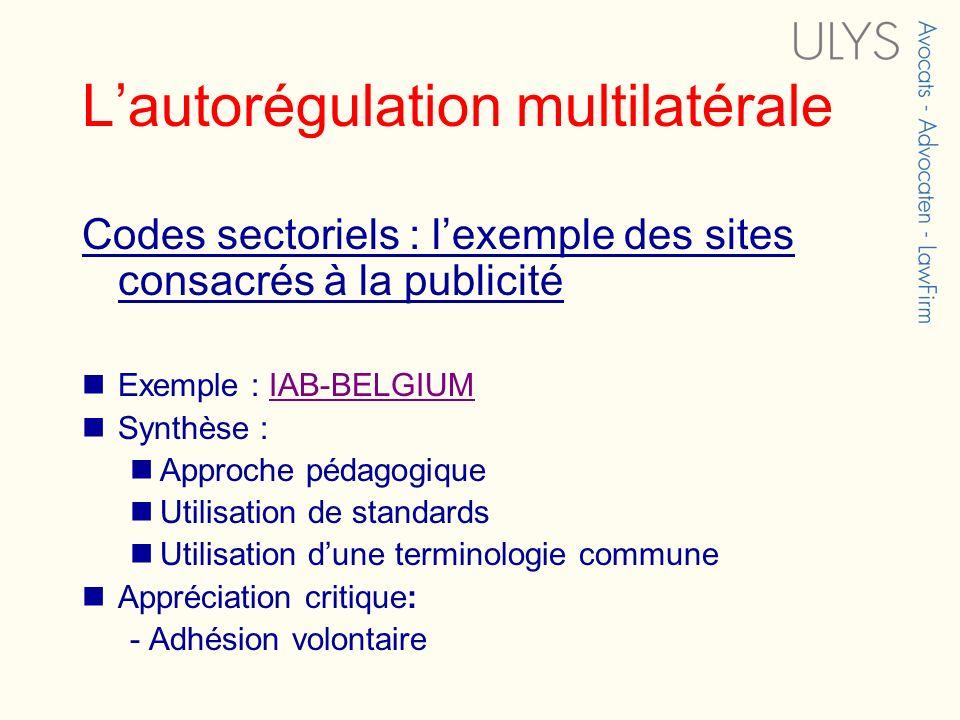 Lautorégulation multilatérale Codes sectoriels : lexemple des sites consacrés à la publicité Exemple : IAB-BELGIUMIAB-BELGIUM Synthèse : Approche péda