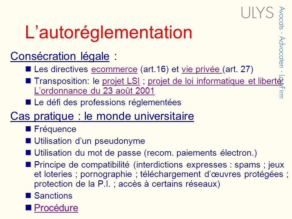 Lautoréglementation Consécration légale : Les directives ecommerce (art.16) et vie privée (art. 27)ecommercevie privée Transposition: le projet LSI ;