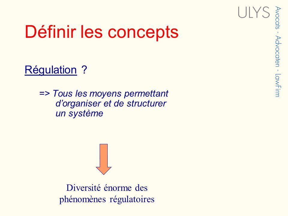 Définir les concepts Régulation ? => Tous les moyens permettant dorganiser et de structurer un système Diversité énorme des phénomènes régulatoires