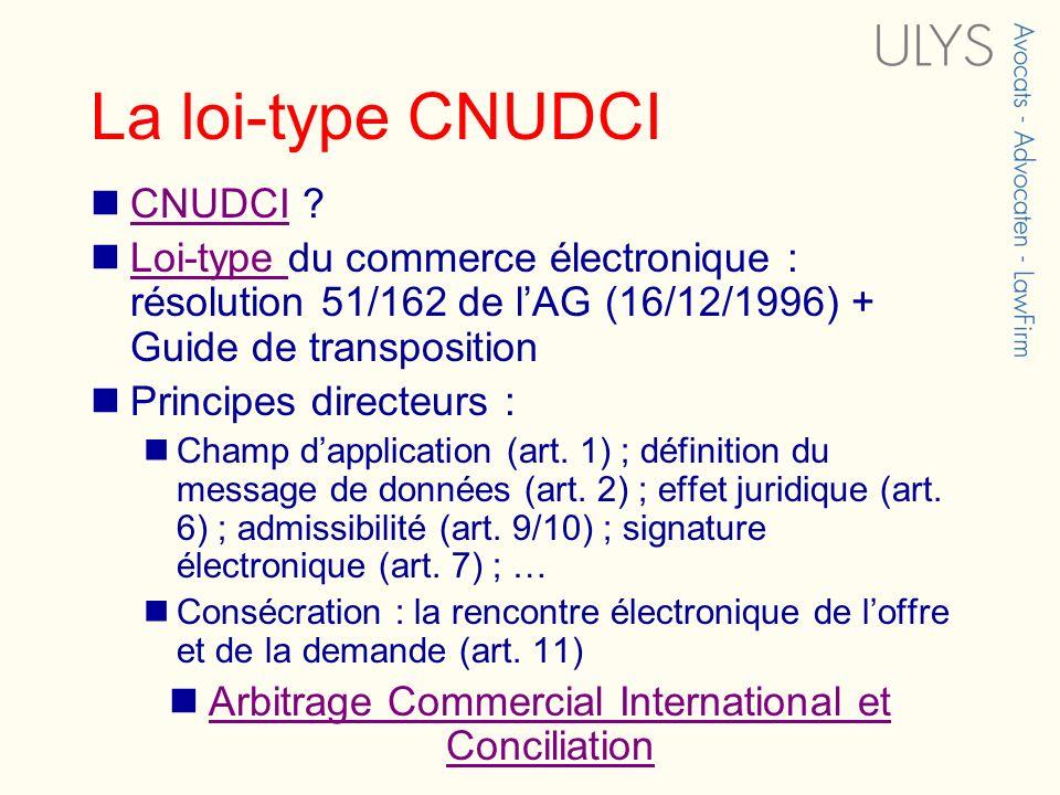 La loi-type CNUDCI CNUDCI ? CNUDCI Loi-type du commerce électronique : résolution 51/162 de lAG (16/12/1996) + Guide de transposition Loi-type Princip