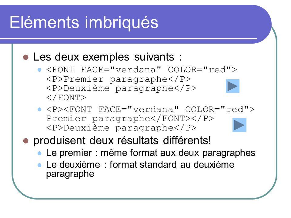 Les listes de définitions L ensemble de la liste est délimitée par le conteneur Le terme à définir est précédé par un marqueur Chaque définition est précédé par un marqueur Exemple: Terme1.