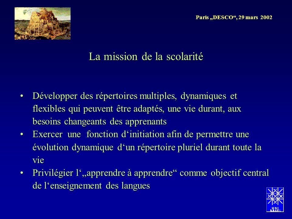 Paris DESCO, 29 mars 2002 Développer des répertoires multiples, dynamiques et flexibles qui peuvent être adaptés, une vie durant, aux besoins changean