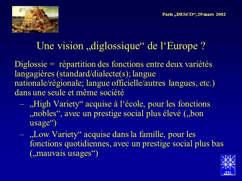 Paris DESCO, 29 mars 2002 Une vision diglossique de lEurope ? Diglossie = répartition des fonctions entre deux variétés langagières (standard/dialecte
