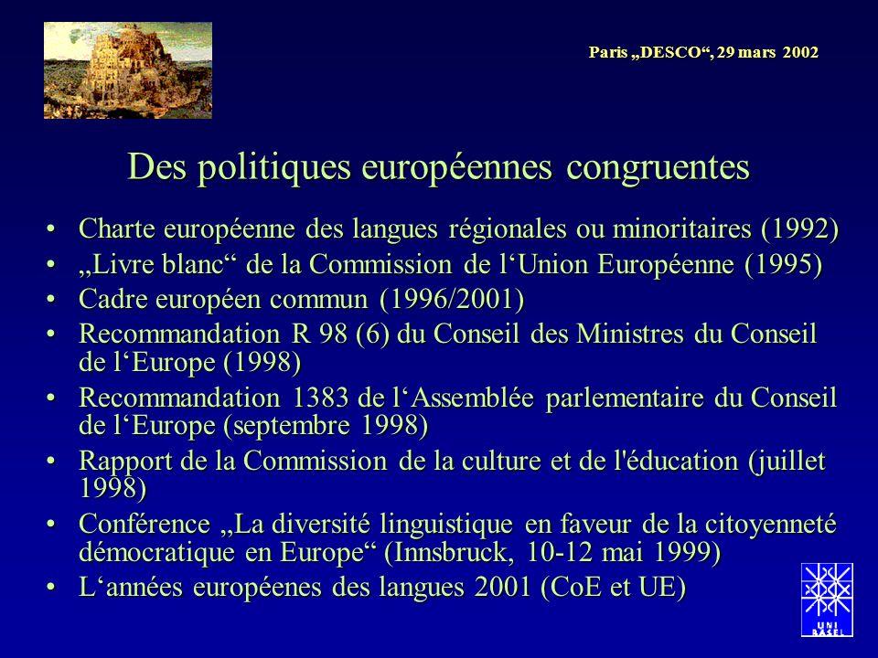 Paris DESCO, 29 mars 2002 Charte européenne des langues régionales ou minoritaires (1992)Charte européenne des langues régionales ou minoritaires (199