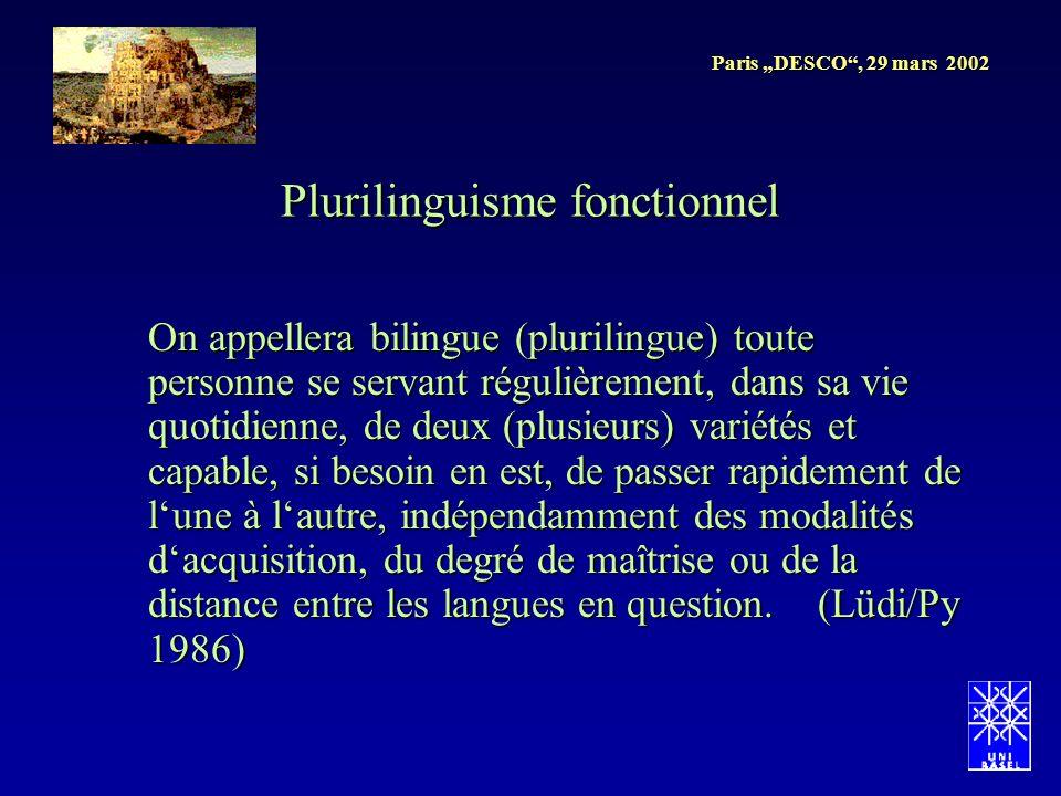 Paris DESCO, 29 mars 2002 Plurilinguisme fonctionnel On appellera bilingue (plurilingue) toute personne se servant régulièrement, dans sa vie quotidie
