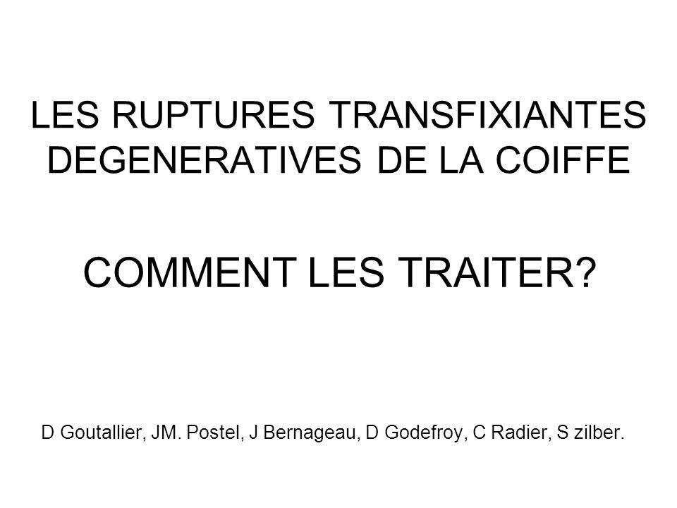 Rupture Transfix Coiffe HM 03 LES RUPTURES ITERATIVES à 2 ans / IDG PREOPERATOIRE 0.25 1 1.5 2 I.D.G % sans tension Confirmée par série D.G et coll; JSES 2006 H CH
