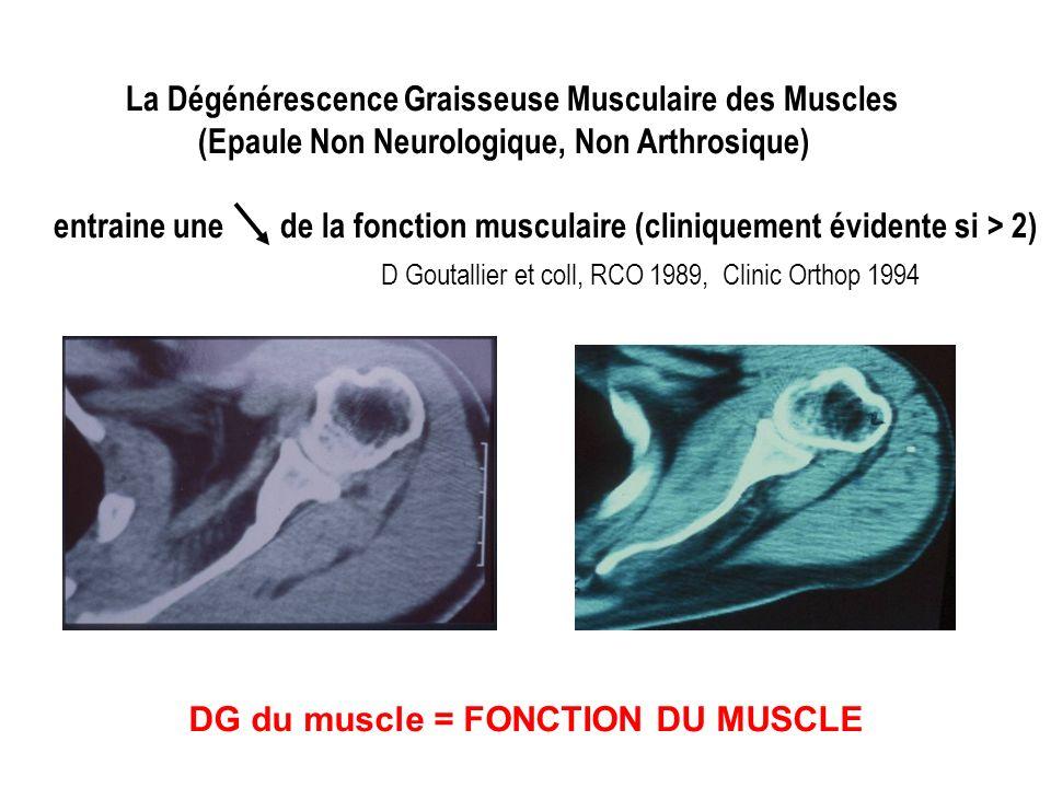 La Dégénérescence Graisseuse Musculaire des Muscles (Epaule Non Neurologique, Non Arthrosique) entraine une de la fonction musculaire (cliniquement évidente si > 2) D Goutallier et coll, RCO 1989, Clinic Orthop 1994 DG du muscle = FONCTION DU MUSCLE