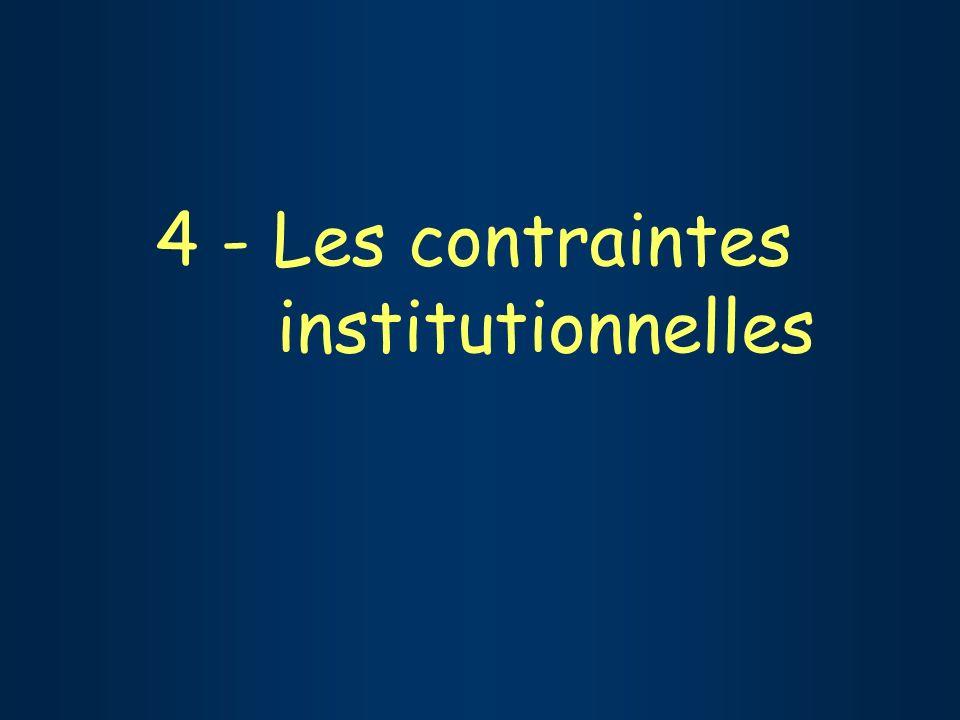 4 - Les contraintes institutionnelles