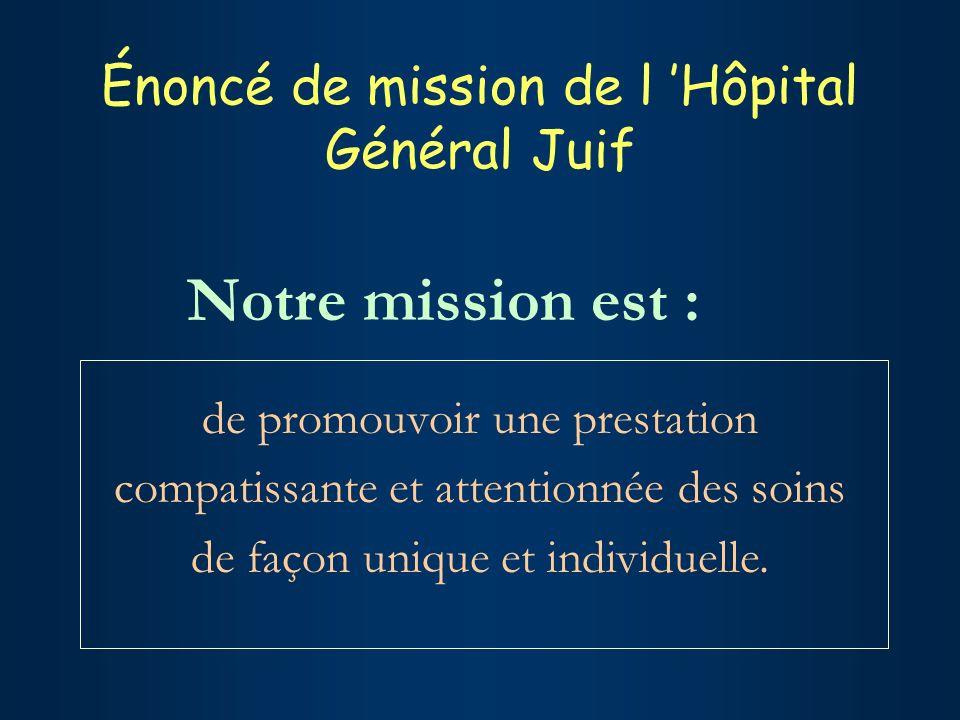 Énoncé de mission de l Hôpital Général Juif de promouvoir une prestation compatissante et attentionnée des soins de façon unique et individuelle.