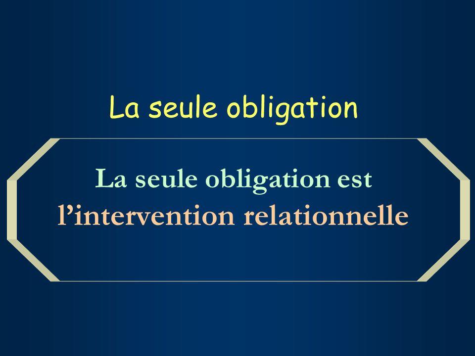 La seule obligation La seule obligation est lintervention relationnelle