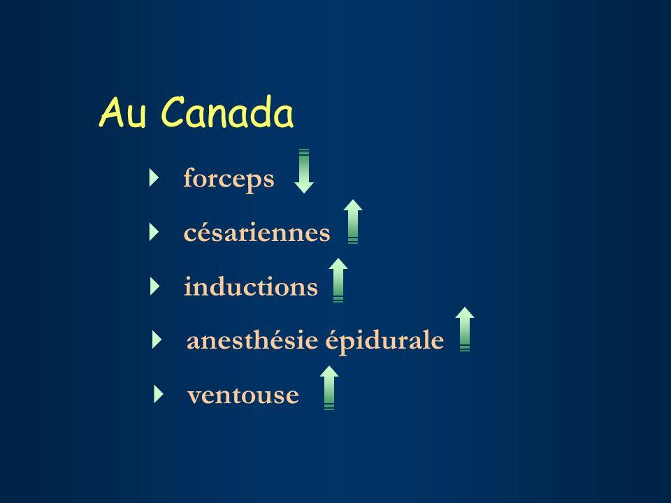 Au Canada forceps césariennes inductions anesthésie épidurale ventouse