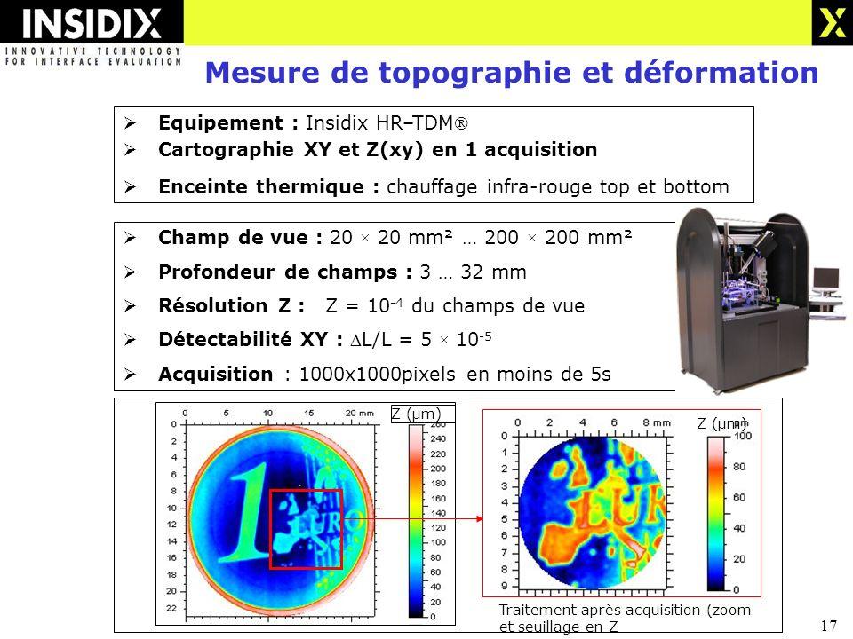 17 Z (µm) Mesure de topographie et déformation Equipement : Insidix HR–TDM Cartographie XY et Z(xy) en 1 acquisition Enceinte thermique : chauffage infra-rouge top et bottom Champ de vue : 20 × 20 mm² … 200 × 200 mm² Profondeur de champs : 3 … 32 mm Résolution Z : Z = 10 -4 du champs de vue Détectabilité XY : L/L = 5 × 10 -5 Acquisition : 1000x1000pixels en moins de 5s Traitement après acquisition (zoom et seuillage en Z