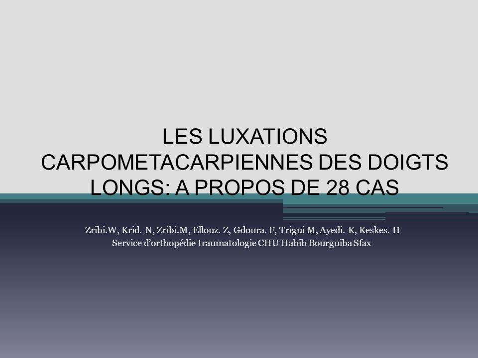 LES LUXATIONS CARPOMETACARPIENNES DES DOIGTS LONGS: A PROPOS DE 28 CAS Zribi.W, Krid. N, Zribi.M, Ellouz. Z, Gdoura. F, Trigui M, Ayedi. K, Keskes. H