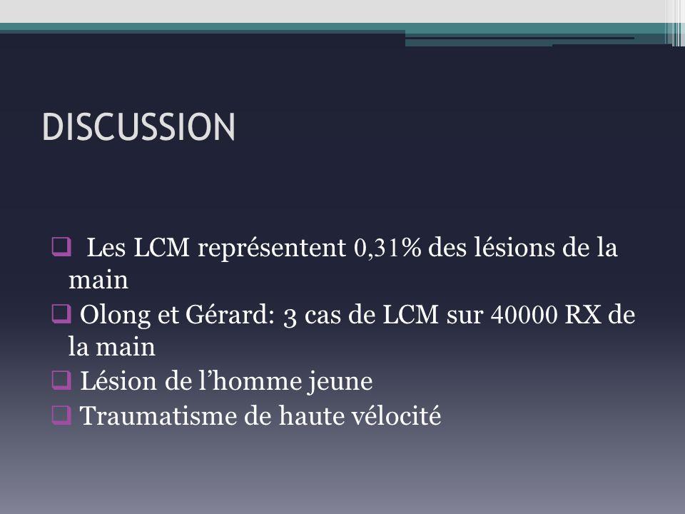 DISCUSSION Les LCM représentent 0,31 % des lésions de la main Olong et Gérard: 3 cas de LCM sur 40000 RX de la main Lésion de lhomme jeune Traumatisme