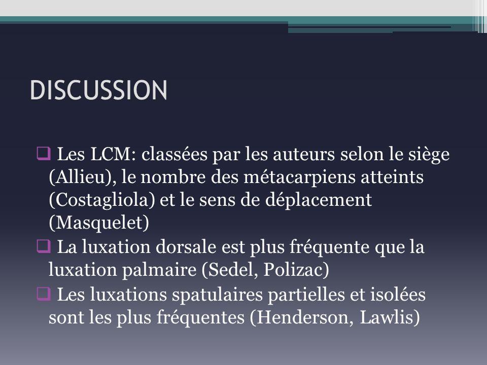 DISCUSSION Les LCM: classées par les auteurs selon le siège (Allieu), le nombre des métacarpiens atteints (Costagliola) et le sens de déplacement (Mas