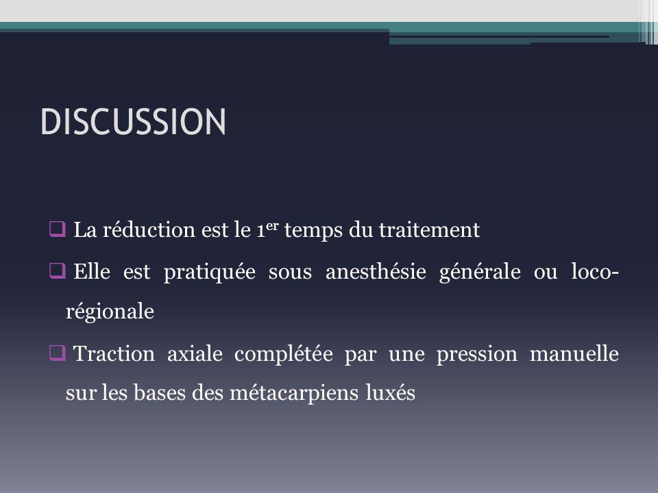 DISCUSSION La réduction est le 1 er temps du traitement Elle est pratiquée sous anesthésie générale ou loco- régionale Traction axiale complétée par u