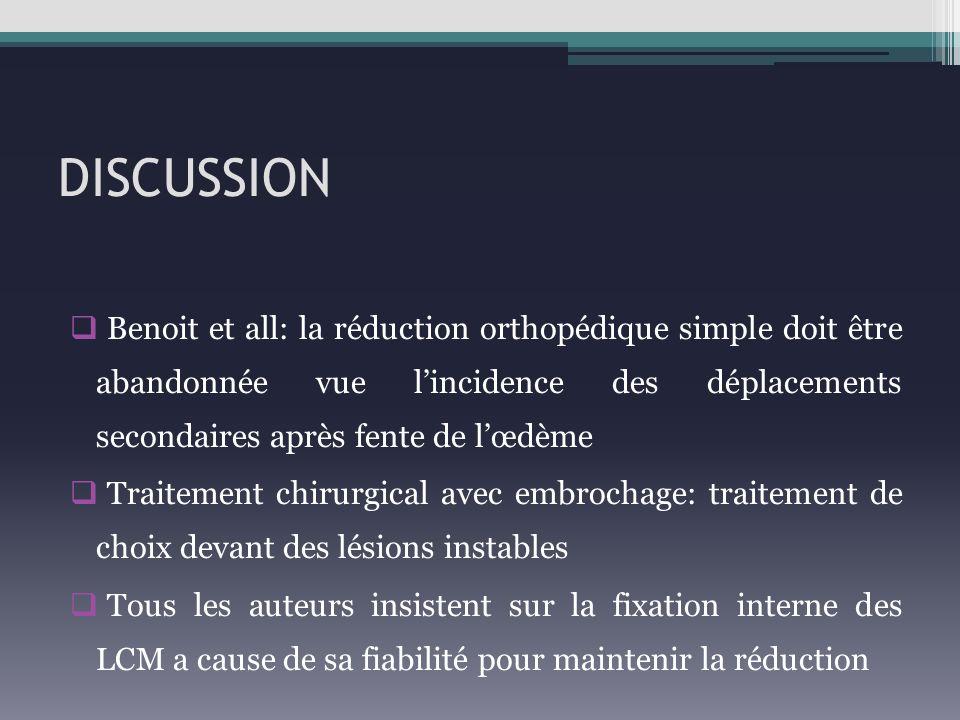 DISCUSSION Benoit et all: la réduction orthopédique simple doit être abandonnée vue lincidence des déplacements secondaires après fente de lœdème Trai