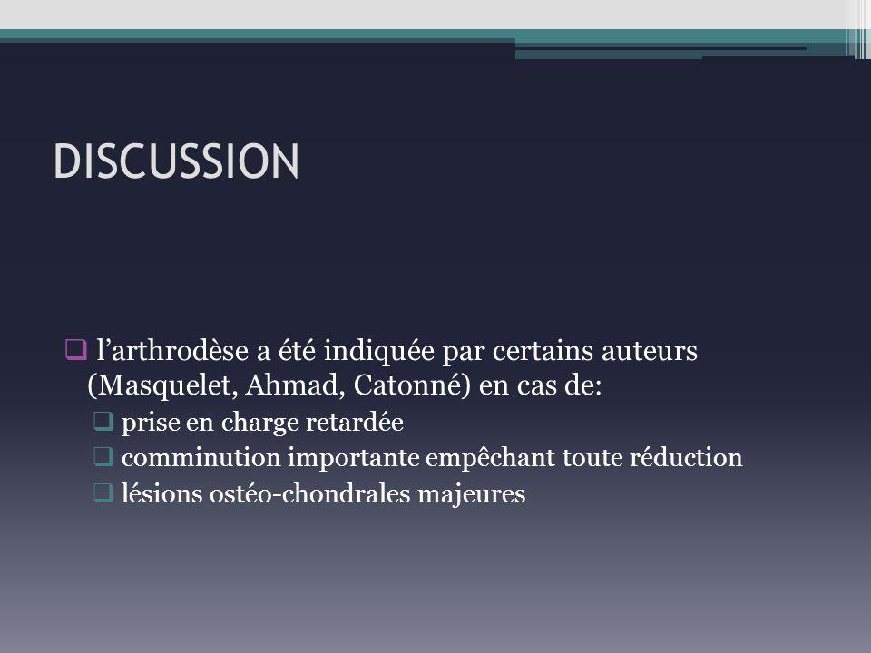 DISCUSSION larthrodèse a été indiquée par certains auteurs (Masquelet, Ahmad, Catonné) en cas de: prise en charge retardée comminution importante empê