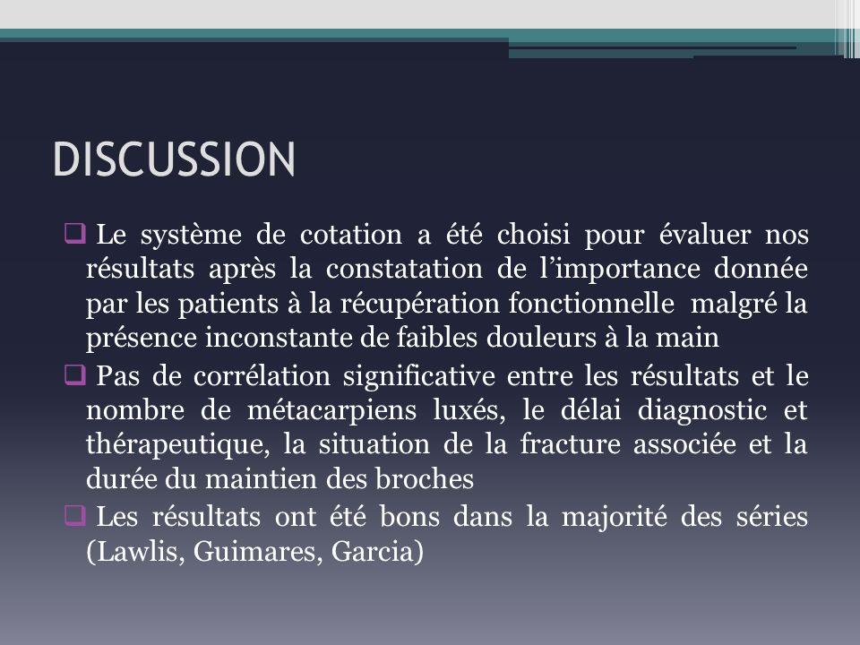 DISCUSSION Le système de cotation a été choisi pour évaluer nos résultats après la constatation de limportance donnée par les patients à la récupérati