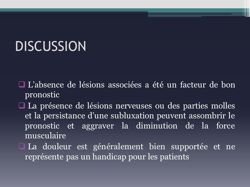 DISCUSSION Labsence de lésions associées a été un facteur de bon pronostic La présence de lésions nerveuses ou des parties molles et la persistance du