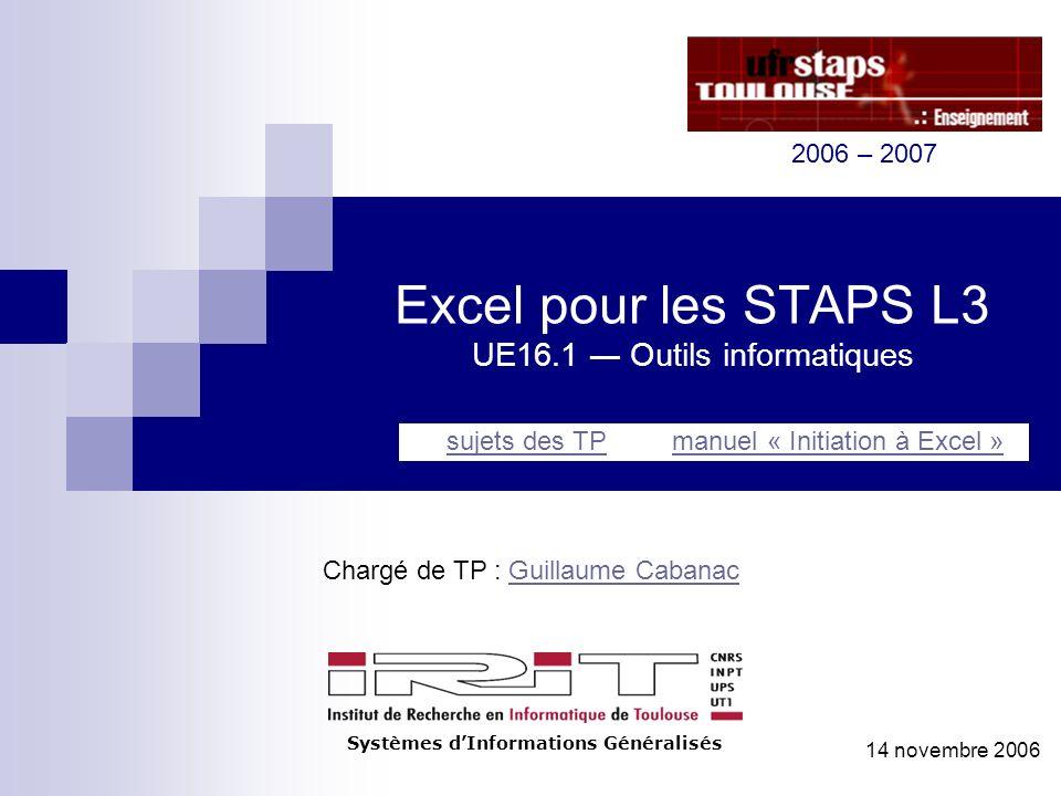 Excel pour les STAPS L3 UE16.1 Outils informatiques Chargé de TP : Guillaume CabanacGuillaume Cabanac Systèmes dInformations Généralisés sujets des TP