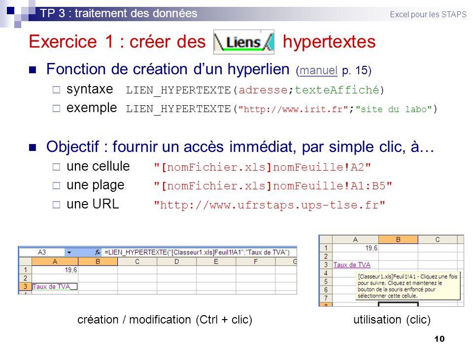 10 Exercice 1 : créer des hypertextes Fonction de création dun hyperlien (manuel p.