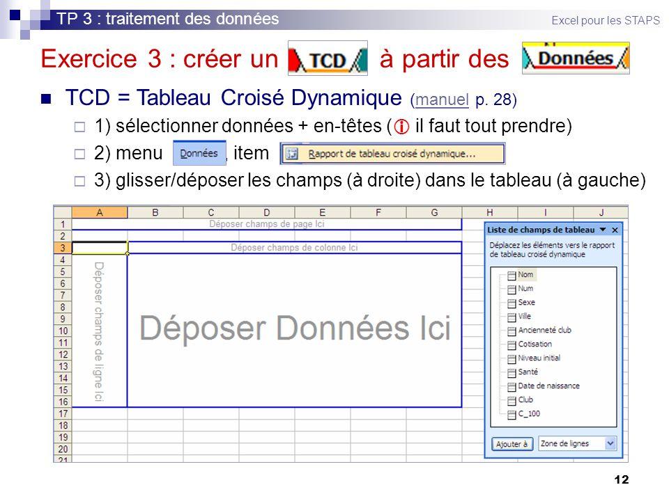 12 Exercice 3 : créer un à partir des TCD = Tableau Croisé Dynamique (manuel p. 28)manuel 1) sélectionner données + en-têtes ( il faut tout prendre) 2