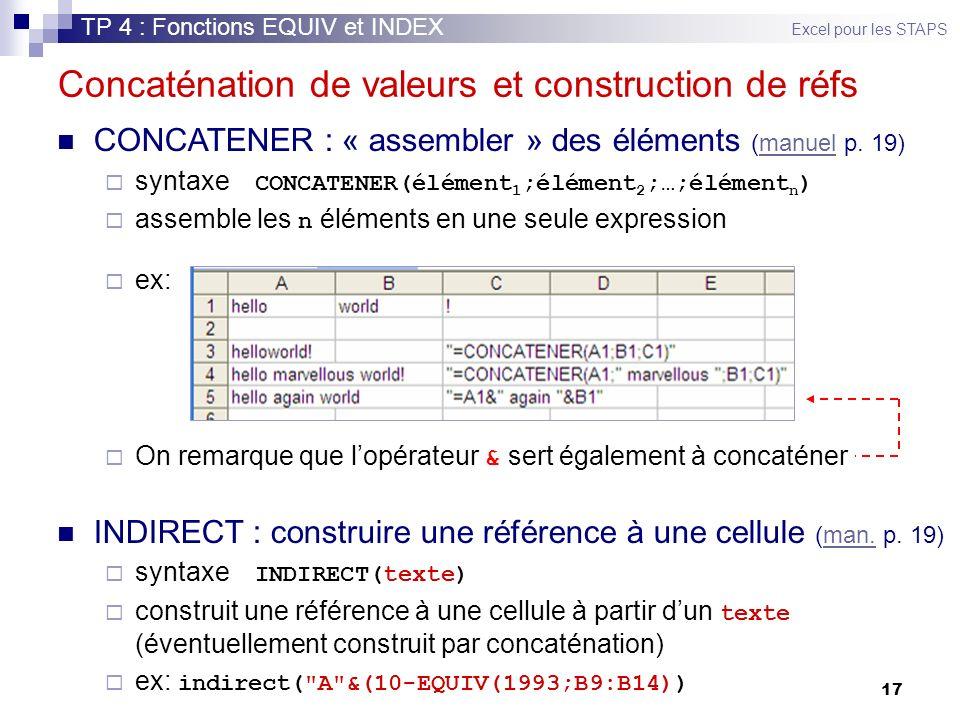 17 Concaténation de valeurs et construction de réfs CONCATENER : « assembler » des éléments (manuel p. 19)manuel syntaxe CONCATENER(élément 1 ;élément
