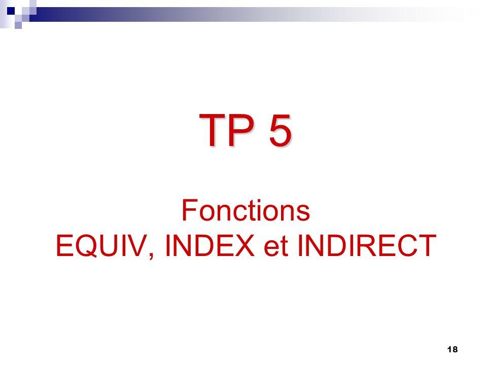 18 TP 5 TP 5 Fonctions EQUIV, INDEX et INDIRECT