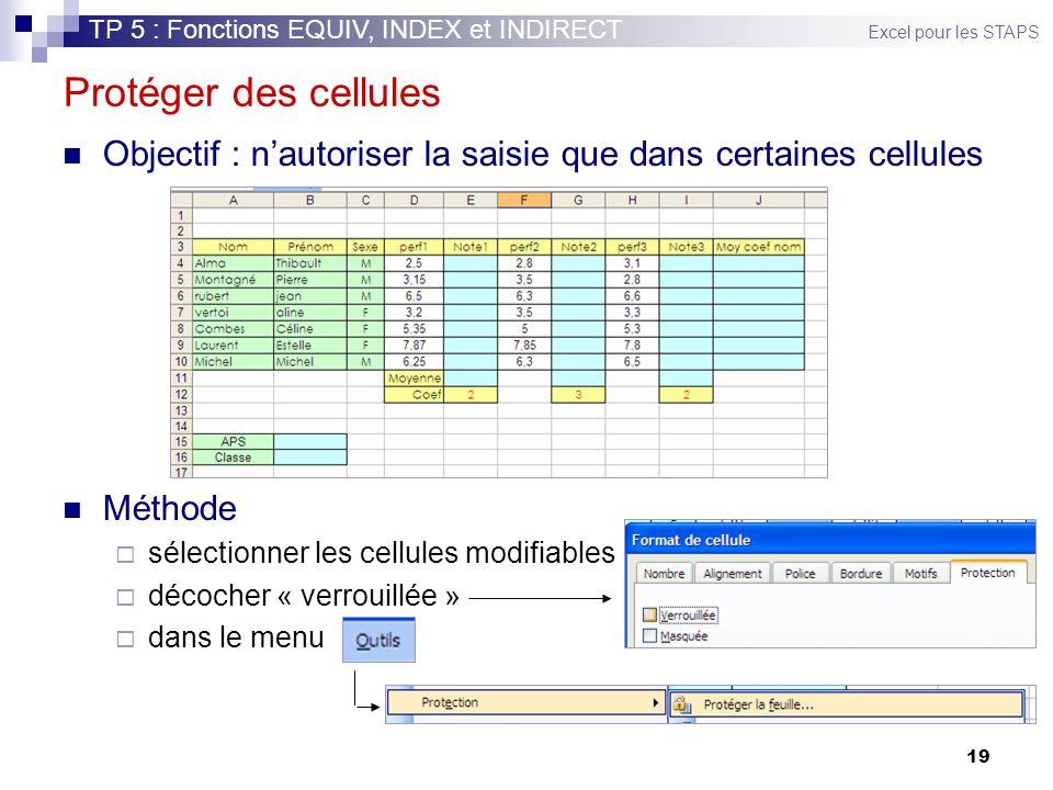 19 Protéger des cellules Objectif : nautoriser la saisie que dans certaines cellules Méthode sélectionner les cellules modifiables décocher « verrouillée » dans le menu TP 5 : Fonctions EQUIV, INDEX et INDIRECT Excel pour les STAPS