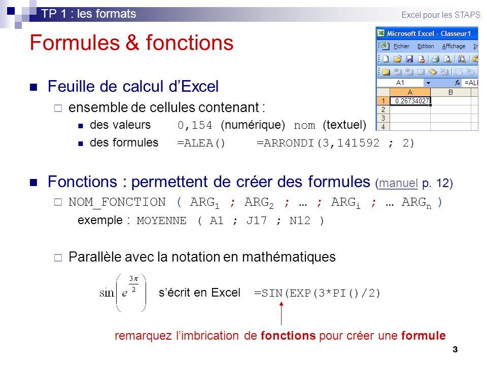 3 Formules & fonctions Feuille de calcul dExcel ensemble de cellules contenant : des valeurs 0,154 (numérique) nom (textuel) des formules =ALEA() =ARRONDI(3,141592 ; 2) Fonctions : permettent de créer des formules (manuel p.