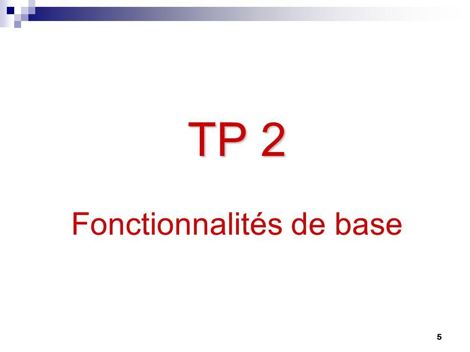 5 TP 2 TP 2 Fonctionnalités de base