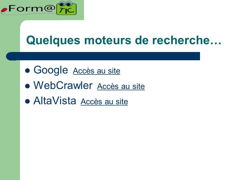 Quelques moteurs de recherche… Google Accès au site Accès au site WebCrawler Accès au site Accès au site AltaVista Accès au site Accès au site