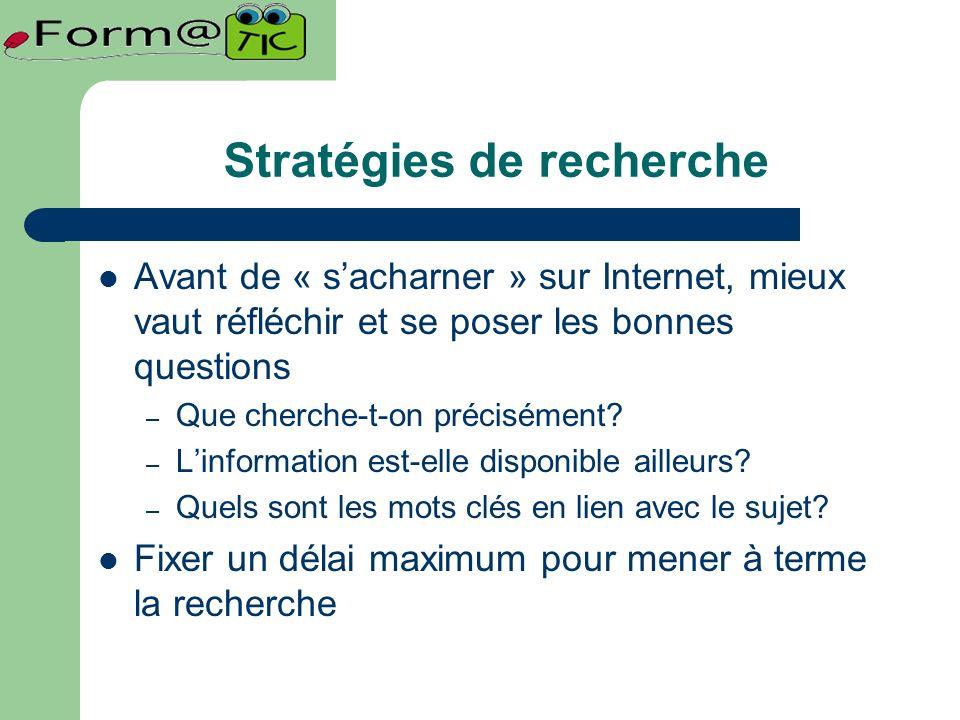 Stratégies de recherche Avant de « sacharner » sur Internet, mieux vaut réfléchir et se poser les bonnes questions – Que cherche-t-on précisément.