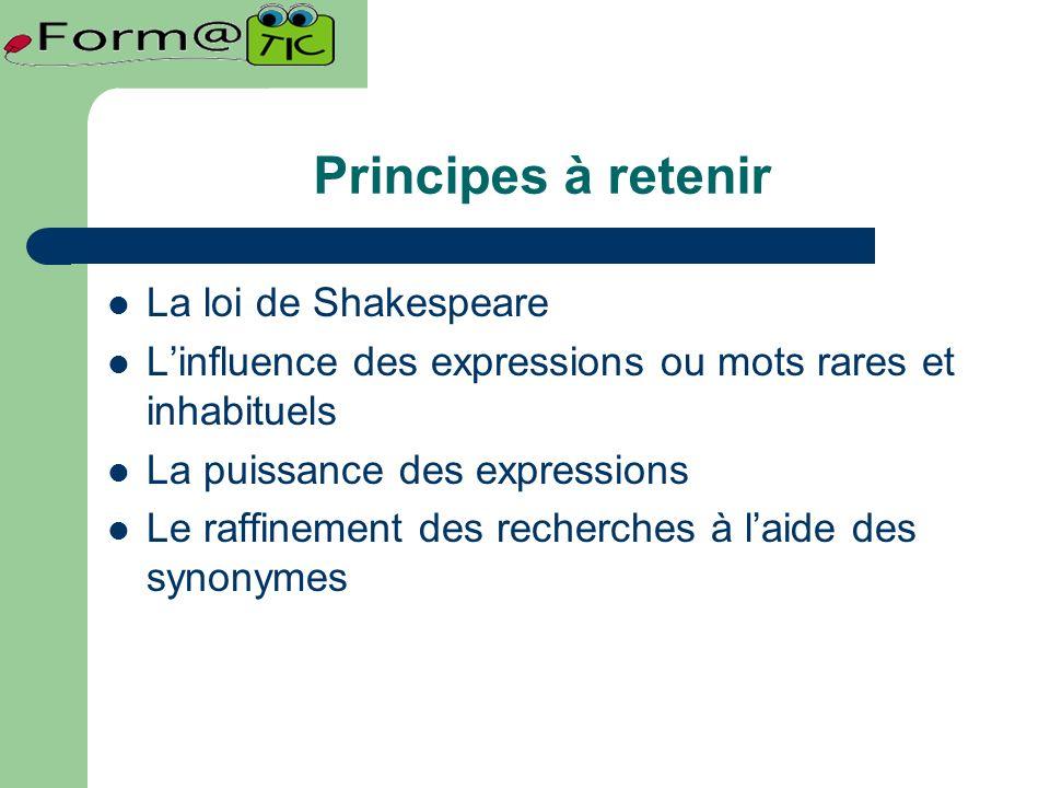 Principes à retenir La loi de Shakespeare Linfluence des expressions ou mots rares et inhabituels La puissance des expressions Le raffinement des recherches à laide des synonymes