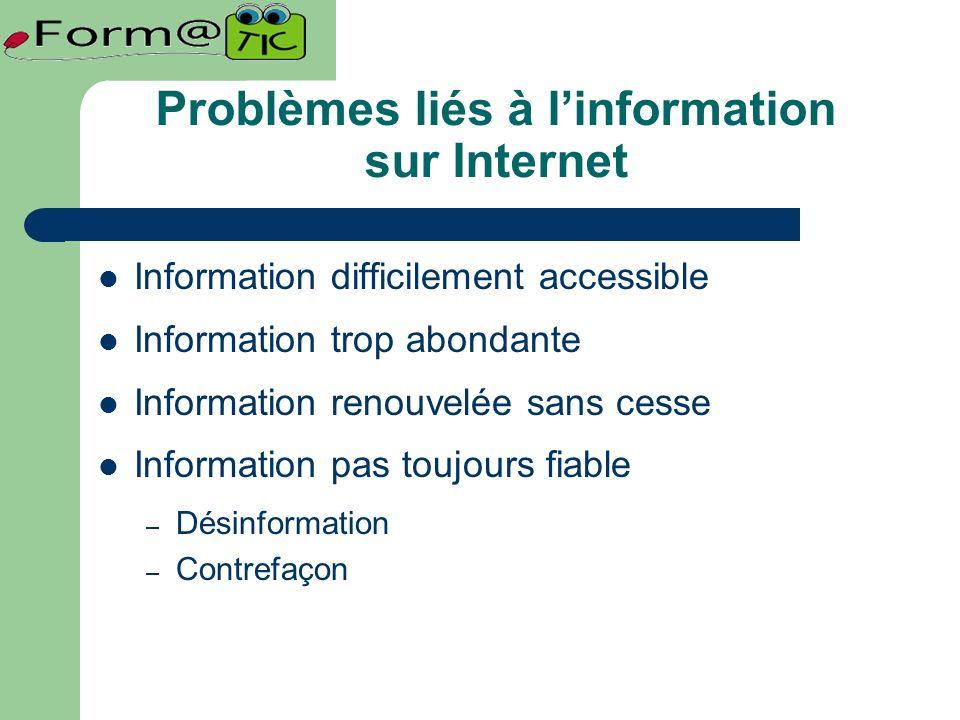 Problèmes liés à linformation sur Internet Information difficilement accessible Information trop abondante Information renouvelée sans cesse Information pas toujours fiable – Désinformation – Contrefaçon